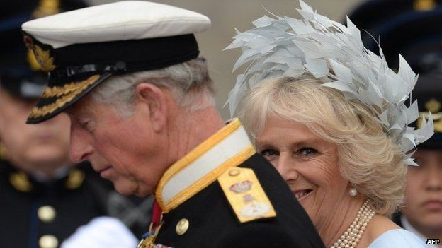 Britain's Prince Charles of Wales and the Duchess of Cornwall leave the Nieuwe Kerk in Amsterdam, 30 April 2013