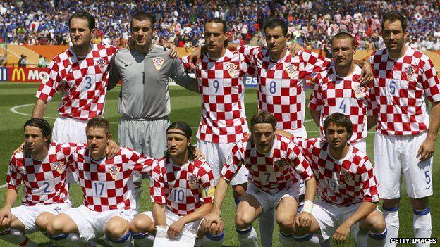 Team shot of Croatia's national football side