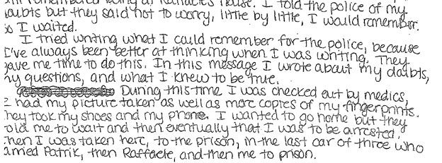 Amanda Knox letter to lawyers