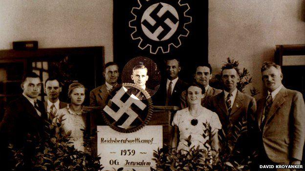 Nazi party meeting in Jerusalem, 1939 (Ludwig Buchhalter circled)