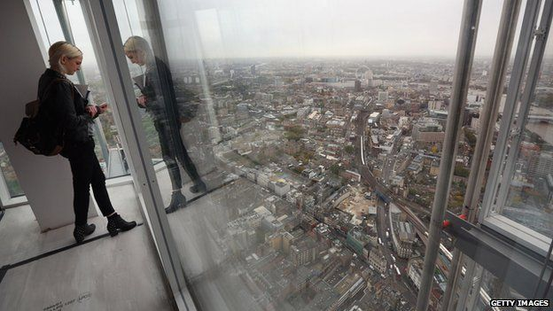 Lady looking out at the view from the Shard