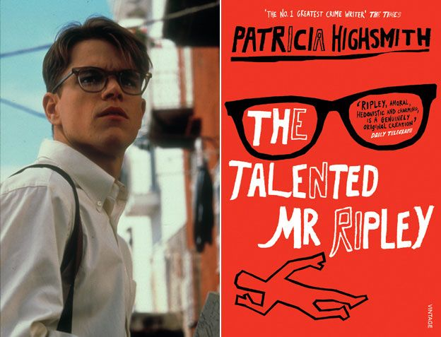 Matt Damon as Tom Ripley; book cover, The Talented Mr Ripley