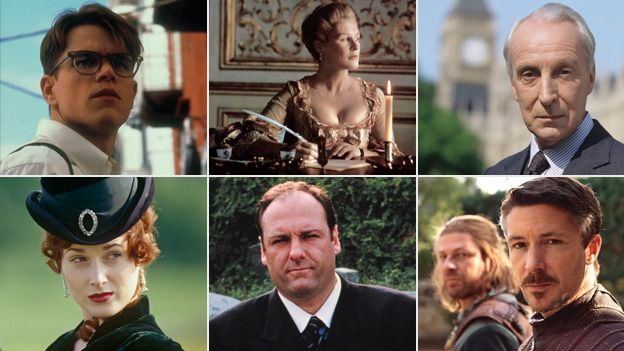 Machiavellian characters, clockwise from top left: Tom Ripley, Marquise Isabelle de Merteuil, Francis Urquhart, Lord Baelish, Tony Soprano, Becky Sharp