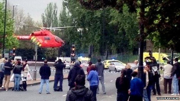 A helicopter landing in Woolwich, south London.