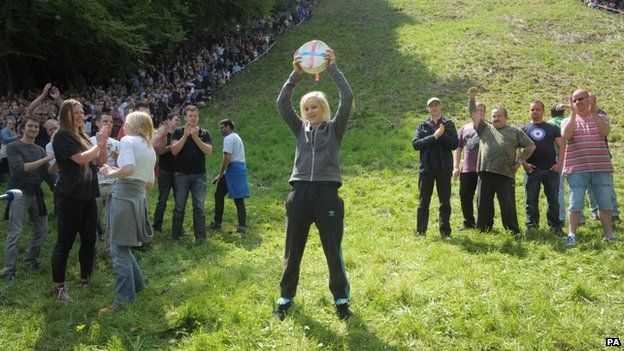 Lucy Townsend from Brockworth, winner of the ladies downhill race