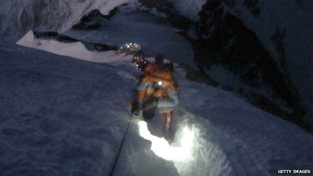 "Climbers in a ""traffic jam"" on Everest in May 2012"