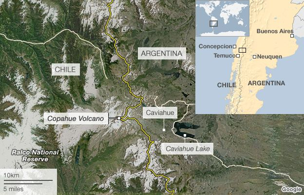 Argentina And Chile Order Evacuation Of Copahue Volcano BBC News - Argentina volcanoes map