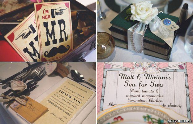Wedding details including menus, table dressings and place cards (photos courtesy of Sally Thurrell)