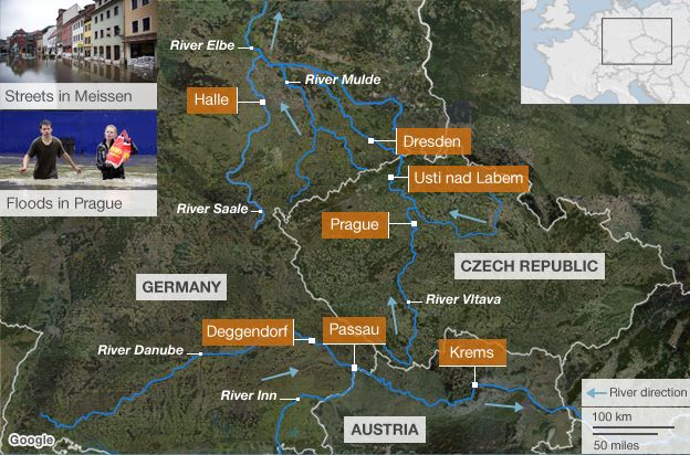 Rescuers winch families to safety in German flood town BBC News – Map of Germany Showing Rivers
