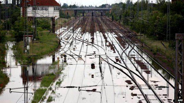 Flooded railway line at Magdeburg, eastern Germany (9 June)