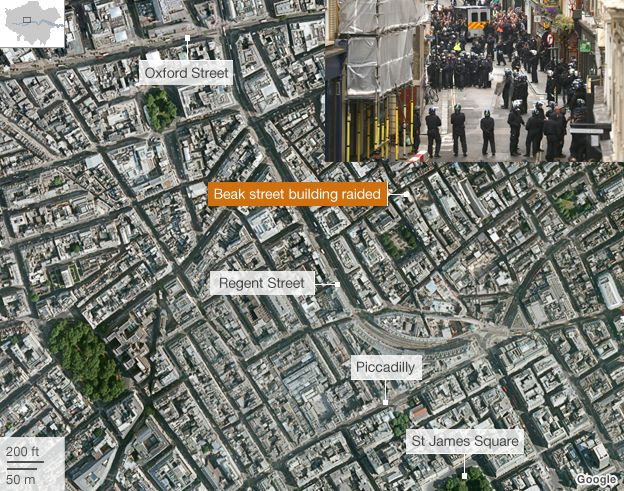 Map of G8 protest