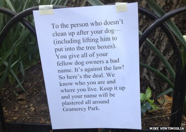 a note to a dog owner threatening to expose the fact that they dont
