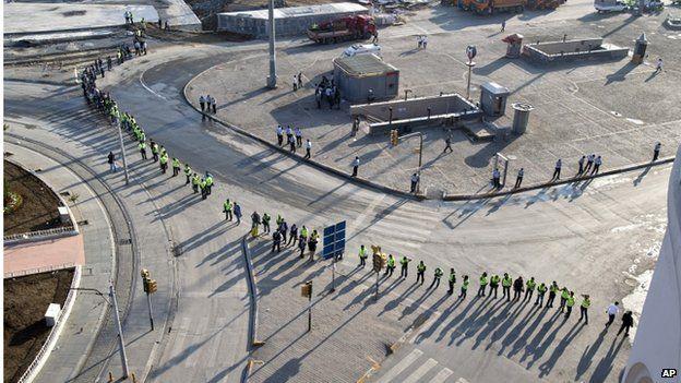 Police form a cordon in Taksim Square, Istanbul, 16 June