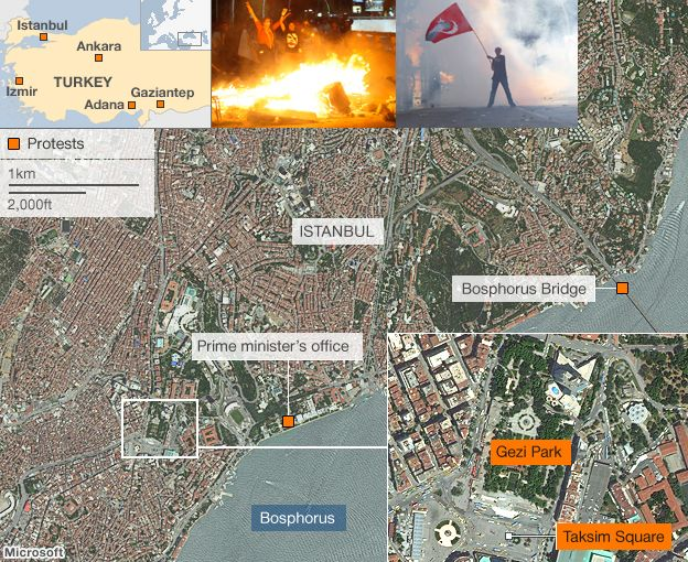 Map of protest locations in Turkey and Istanbul