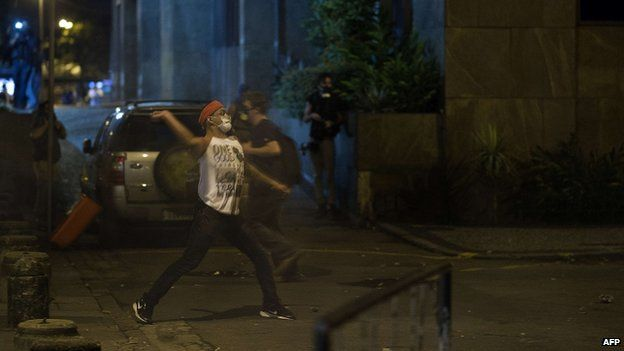A stone thrown by youth in Rio de Janeiro