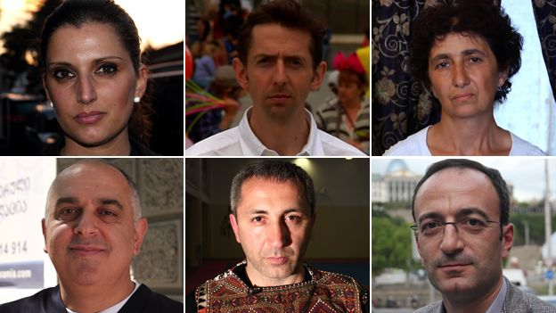 Combination photograph of the BBC's Tom Esslemont and five people from Tbilisi, Georgia