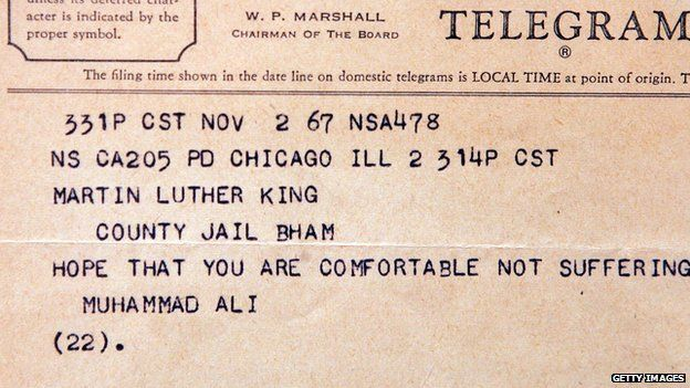 Telegram to Martin Luther King from Muhamad Ali