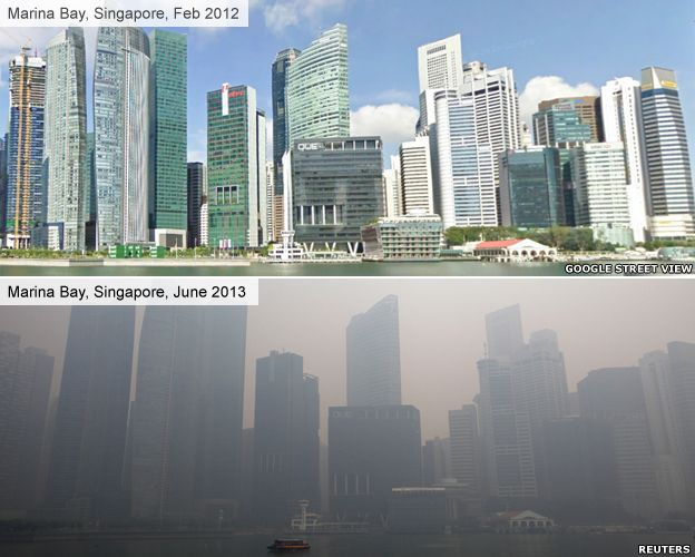 Singapore smog, before and after