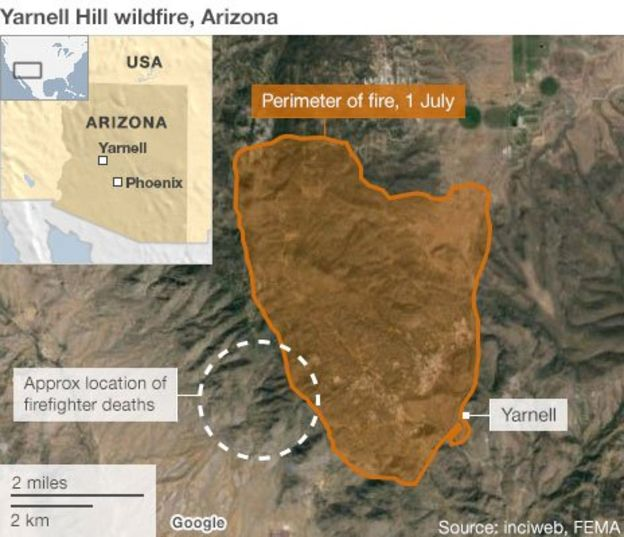 Yarnell Fire Hotshot Deaths Investigation Begins Bbc News