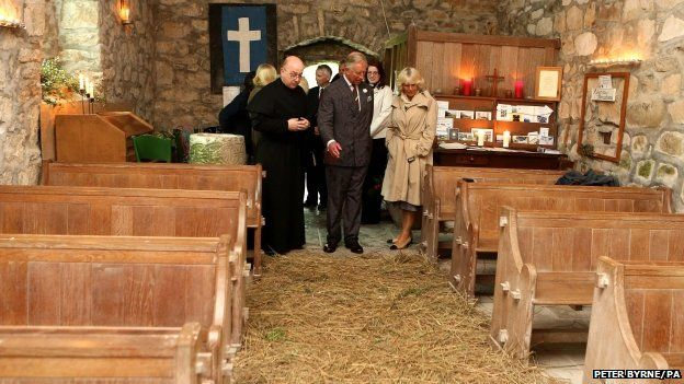 The Prince of Wales and the Duchess of Cornwall at St Bueno's Church in Pistyll, Pwllheli