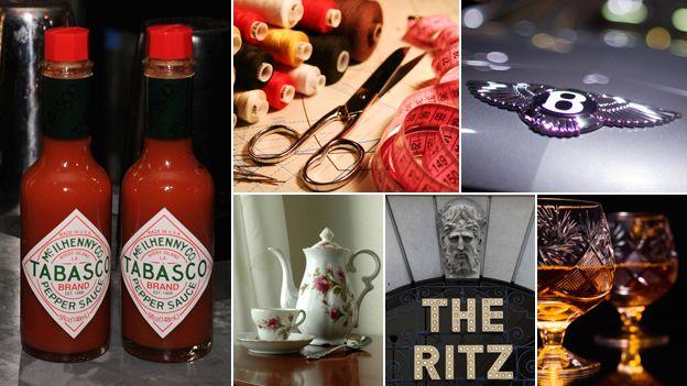 Composite: Tabasco sauce; haberdashery; Bentley logo; Whiskey; The Ritz; Teapot and tea