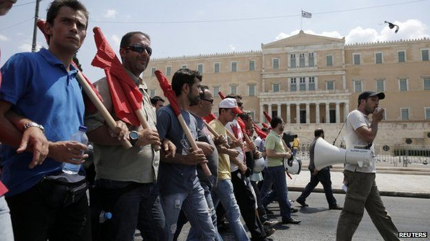 PAMA trade union supporters attend rally in front of Greek parliament in Athens on 16 July
