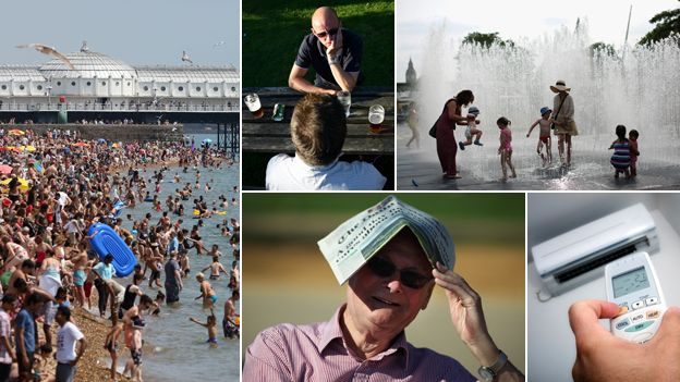 Composite of a crowded beach, a beer garden, children playing in a water fountain, air con, and a man using a newspaper to shelter from the sun