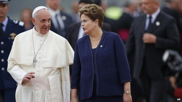 The Pope with Brazil's President Dilma Rousseff (22 July 2013)