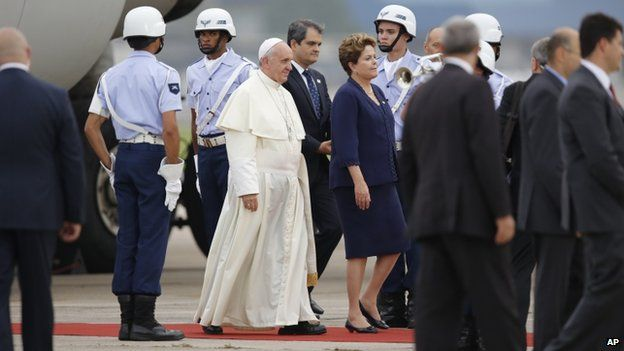 Pope Francis with President Dilma Rousseff