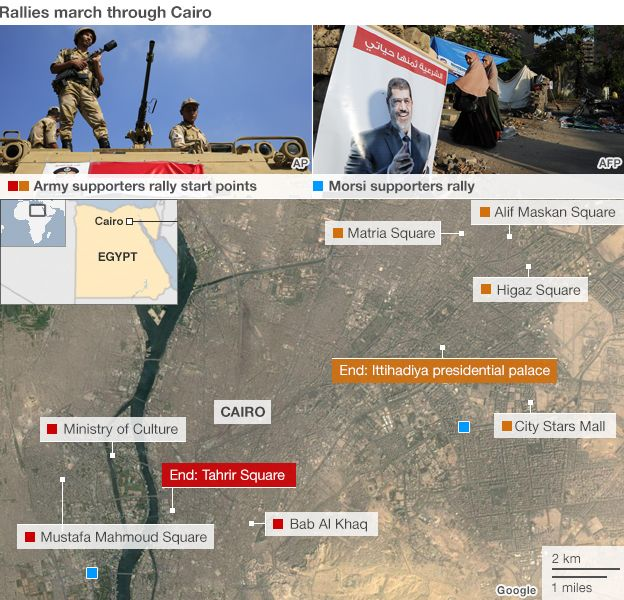 Cairo protests map