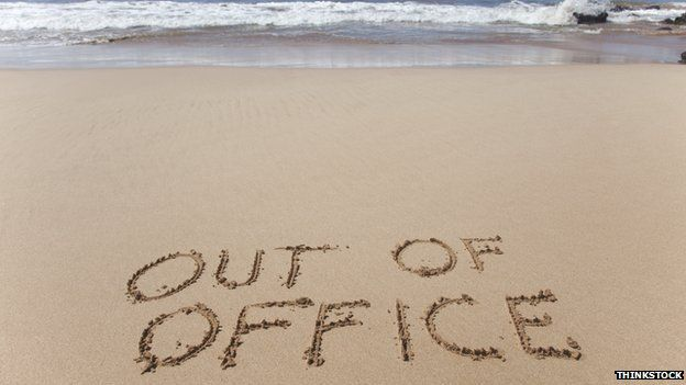 Out of office in the sand