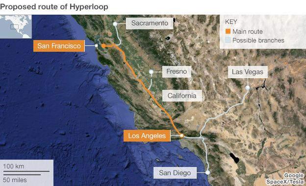 Proposed route for the Hyperloop transit concept
