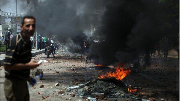 Supporters of Egypt's ousted President Mohammed Morsi in the eastern Nasr City
