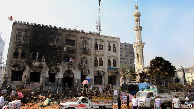 The burnt exterior of Rabaa al-Adawiya mosque