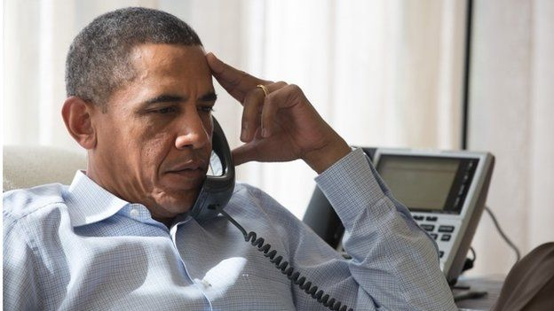 US President Barack Obama speaks by phone with his National Security Staff regarding the situation in Egypt