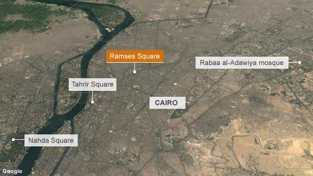 Map showing key protest locations in Cairo