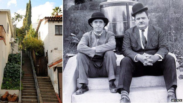 """The """"music box steps"""", LA, and Laurel and Hardy in Hats Off"""