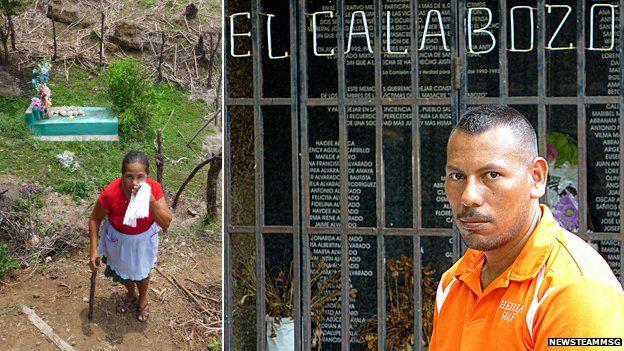 Chunguita Realegeno at her memorial to her family; Ezequiel de Jesus at the village memorial