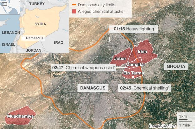 Map showing the areas where the alleged chemical attacks took place in Syria