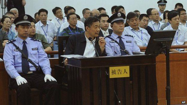 Bo Xilai listens to a testimony by former Chongqing city police chief Wang Lijun.