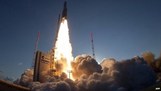 This handout photo released by ESA-CNES-ARIANESPACE on 30 August 2013 shows the launch of an Ariane-5 rocket, carrying two telecommunication satellites Eutelsat 25B/ Eshail1 (France/Qatar) and GSAT-7 (India) from Kourou space base in the French Guiana