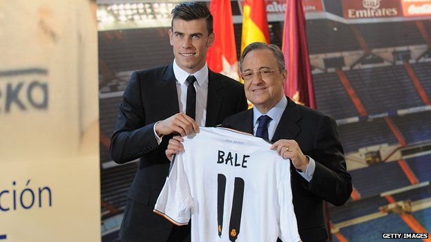 Gareth Bale and Florentino Perez, holding Bale's new Real Madrid shirt