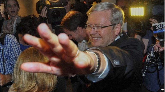 Kevin Rudd greets supports as he leaves an Australian Labor Party election night function in Brisbane, 7 September