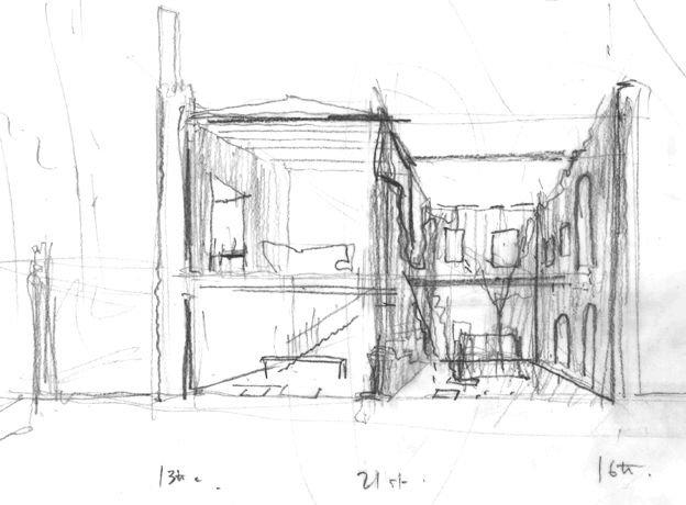Sketch of castle marked 13th C, 21st and 16th