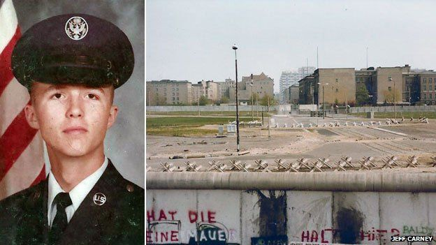 Jeff Carney in uniform and the Berlin Wall