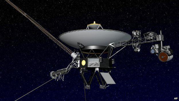 An artist rendering of NASA's Voyager 1 spacecraft in space