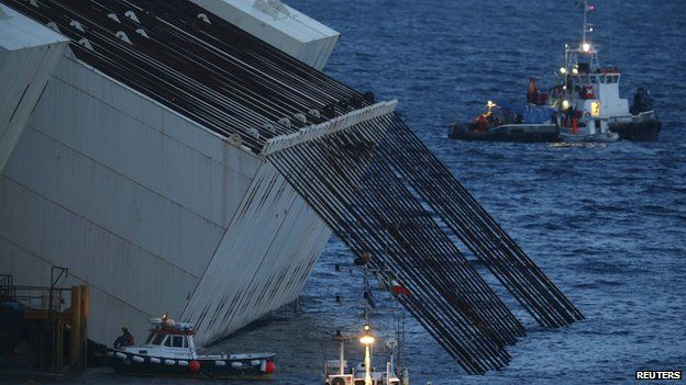 Cables used for the parbuckling of Costa Concordia are seen during the preparation of the operation outside Giglio harbour