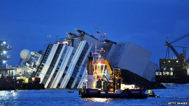 Members of the US salvage company Titan and Italian firm Micoperi work at the wreck of Italy's Costa Concordia cruise ship near the harbour of Giglio Porto on 16 September