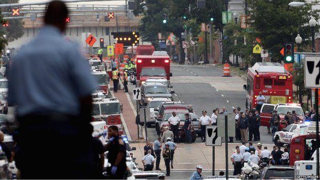 Emergency vehicles at Washington site, 16 Sept