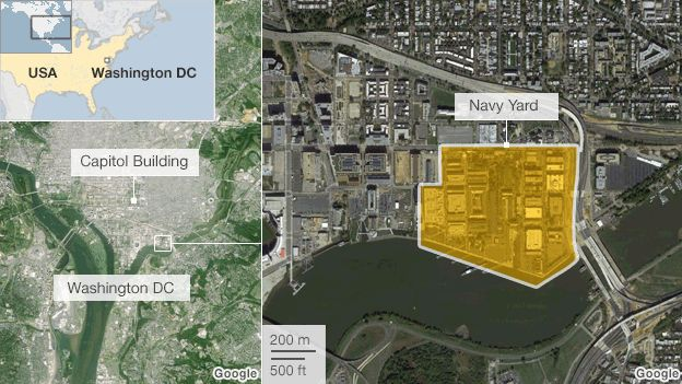 A map of the US Navy Yard complex